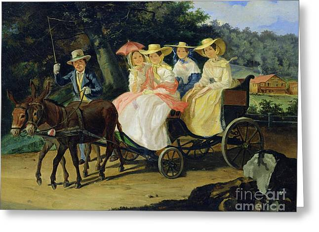 Road Trip Paintings Greeting Cards - A Run Greeting Card by Aleksandr Pavlovich Bryullov