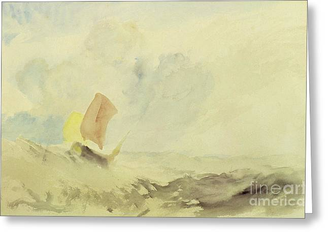 A Sea Piece  A Rough Sea With A Fishing Boat Greeting Card by Joseph Mallord William Turner