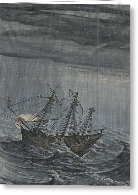 Blue Green Water Drawings Greeting Cards - A Ship in a Stormy Sea Greeting Card by Georg Strauch