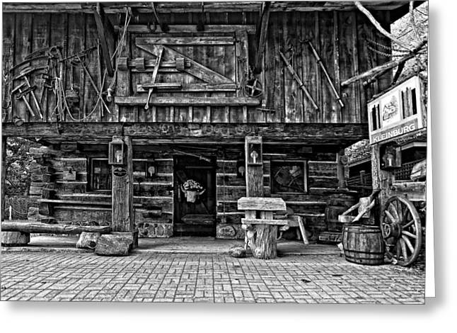 Log Cabins Greeting Cards - A Simpler Time bw Greeting Card by Steve Harrington