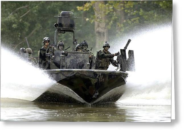 Navy Seals Greeting Cards - A Special Operations Craft Riverine Greeting Card by Stocktrek Images