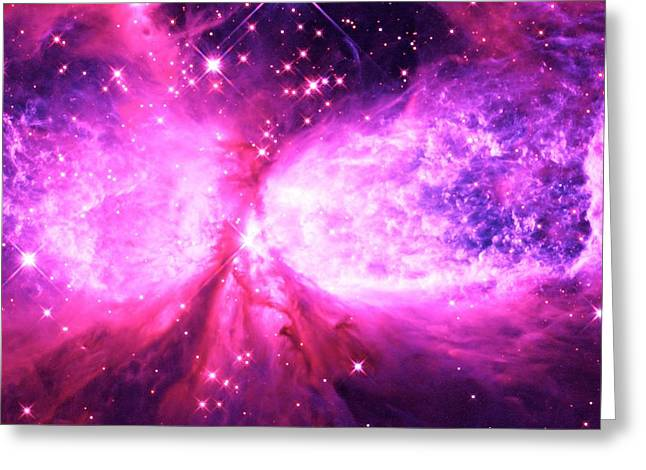 Intergalactic Space Greeting Cards - A Star is Born Pink Purple Greeting Card by Johari Smith