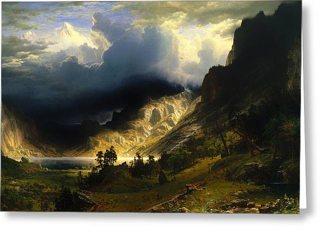 Storm. Rain. Oil On Canvas Greeting Cards - A Storm In The Rocky Mountains - Mt Rosalie Greeting Card by Albert Bierstadt