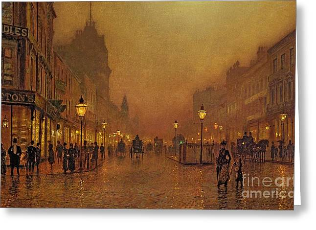 Cobblestone Greeting Cards - A Street at Night Greeting Card by John Atkinson Grimshaw