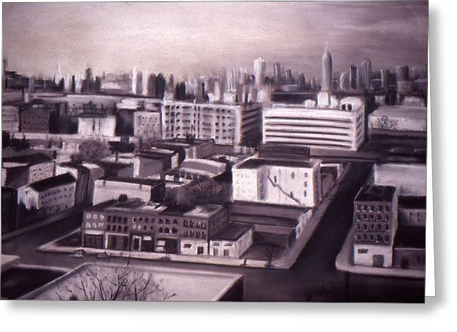 Manhattan Pastels Greeting Cards - A View From Brooklyn Greeting Card by Delia Bonfilio