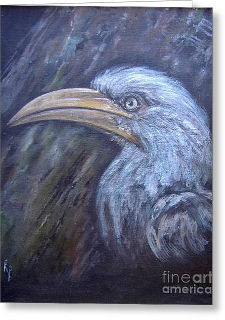 Hornbill Paintings Greeting Cards - A Watchful Eye Greeting Card by Rita Palm