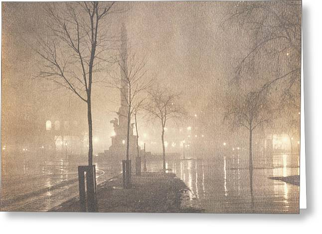 A Wet Night  Columbus Circle Greeting Card by William Fraser