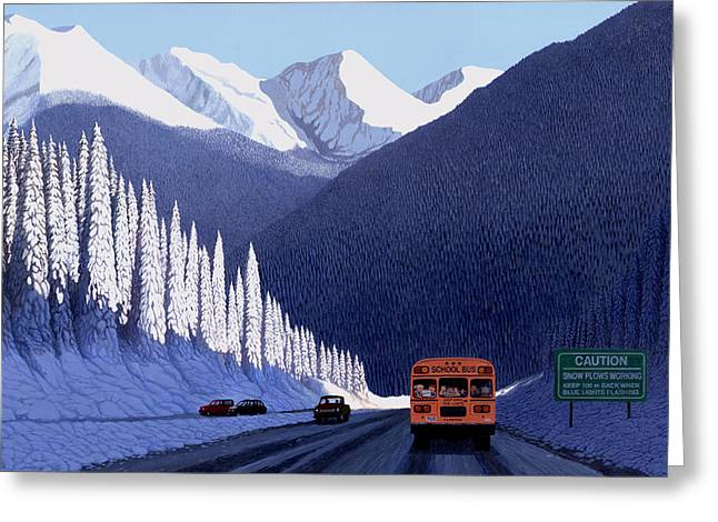 Snowscape Paintings Greeting Cards - A Winter Drive in British Columbia Greeting Card by Neil Woodward