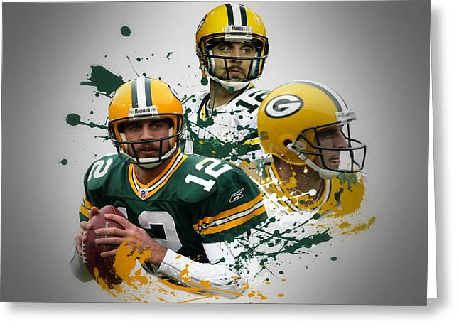 Green Bay Greeting Cards - Aaron Rodgers Packers Greeting Card by Joe Hamilton