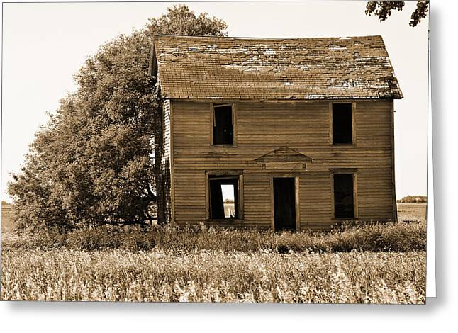 Old House Photographs Greeting Cards - Abandoned Farm House Sepia Toned Greeting Card by Donald  Erickson
