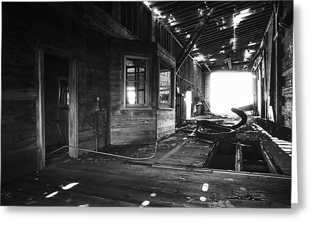 Drive Through Greeting Cards - Abandoned Grain Elevator Drive Through Greeting Card by Donald  Erickson