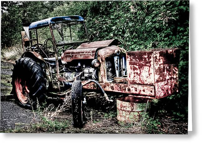 Abandoned Tractor Greeting Card by Gert Lavsen
