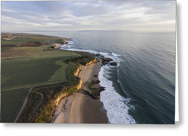 Santa Cruz Surfing Greeting Cards - Above Four Mile Beach Greeting Card by David Levy