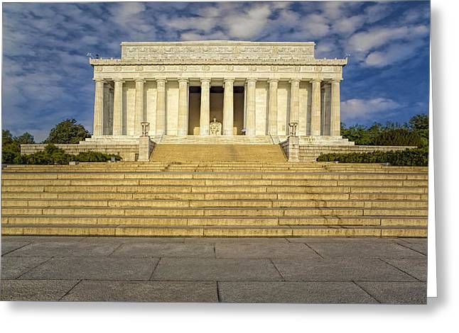 President Of America Greeting Cards - Abraham Lincoln Memorial  Greeting Card by Susan Candelario