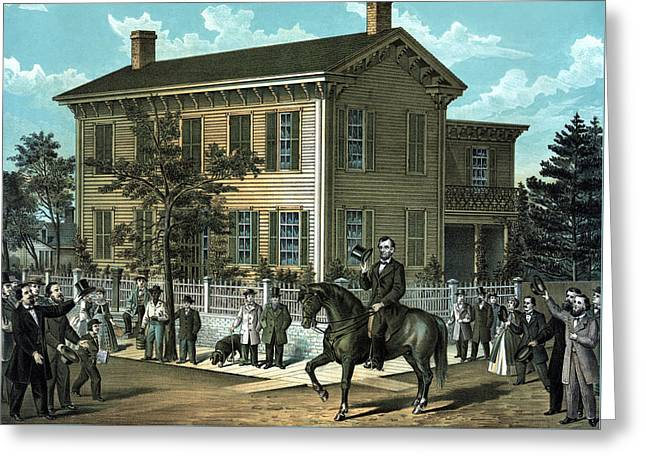 Proclamation Greeting Cards - Abraham Lincolns Return Home Greeting Card by War Is Hell Store