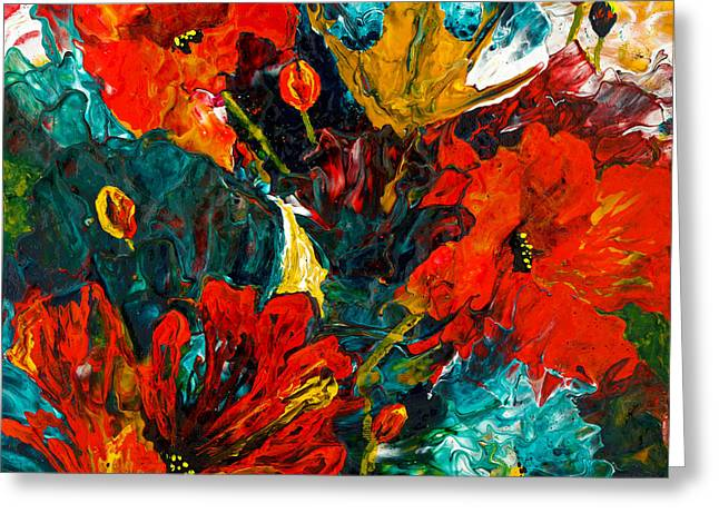 Fineartamerica Greeting Cards - Abstract Blooms Greeting Card by Lynda Bee White