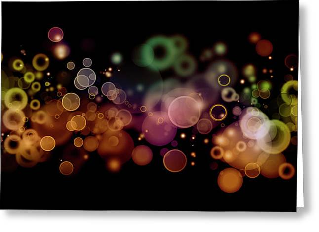 Fresh Green Greeting Cards - Abstract circles Greeting Card by Les Cunliffe