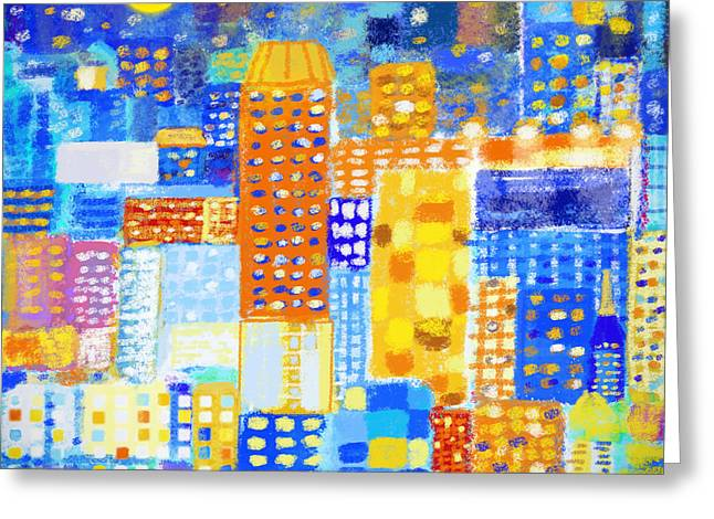Multicolored Digital Greeting Cards - Abstract City Greeting Card by Setsiri Silapasuwanchai
