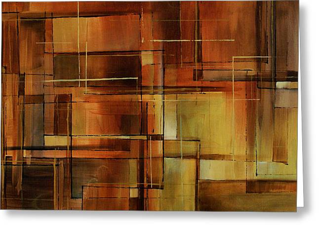 Brown Toned Art Paintings Greeting Cards - Abstract Design 87 Greeting Card by Michael Lang