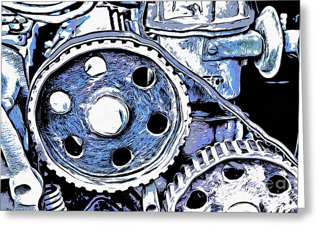 Abstract Detail Of The Old Engine Greeting Card by Michal Boubin