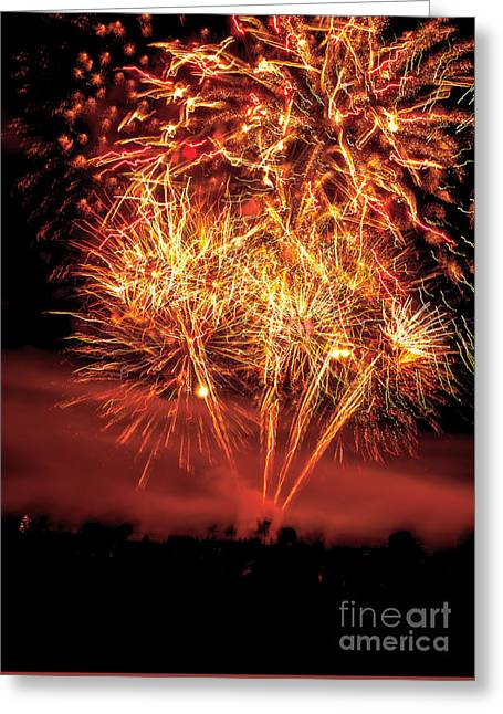 Firecracker Greeting Cards - Abstract Fireworks Greeting Card by Robert Bales