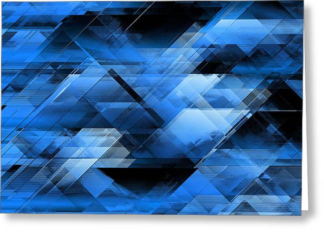 Algorithmic Greeting Cards - Abstract geometric blue Greeting Card by Gaspar Avila