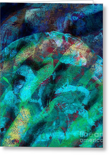 Printmaking Greeting Cards - Abstract in Blue Greeting Card by Laura L Leatherwood