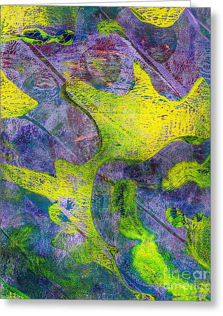 Printmaking Greeting Cards - Abstract in Purple and Green Greeting Card by Laura L Leatherwood