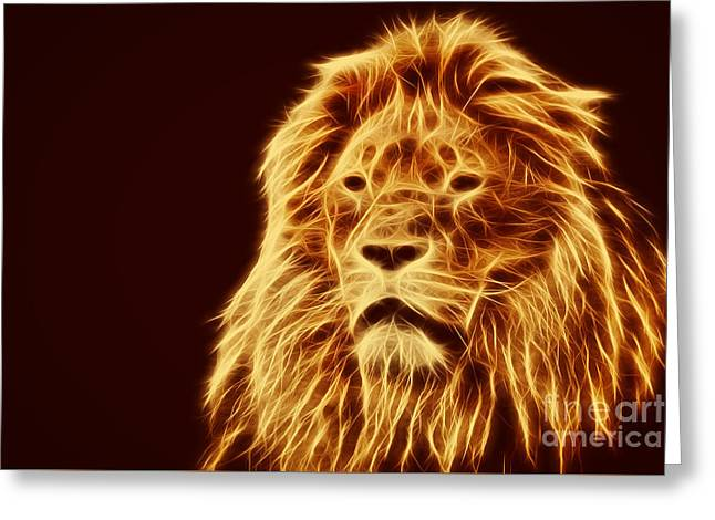 Abstract Lion Portrait Greeting Card by Michal Bednarek