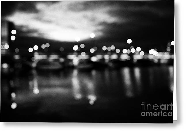 Deliberate Greeting Cards - abstract out of focus photograph of queens bridge and river lagan Belfast waterfront at night Northe Greeting Card by Joe Fox
