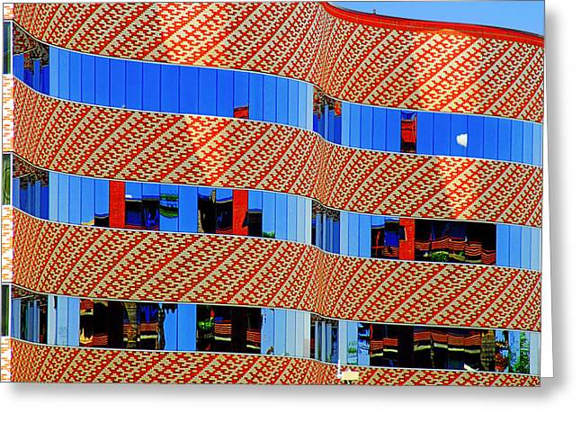 Glass Facade Greeting Cards - Abstract Reflections in Glass Tucson Arizona Greeting Card by Christine Till