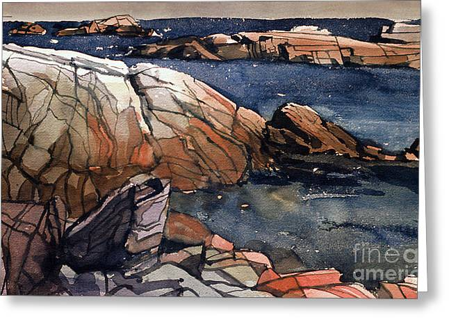 Acadia Rocks Greeting Card by Donald Maier