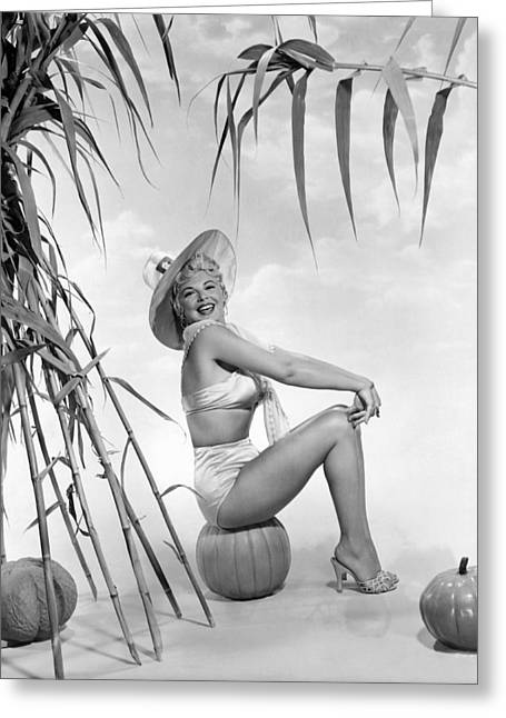 Looking At The Stars Greeting Cards - Actress Barbara Nichols Greeting Card by Underwood Archives