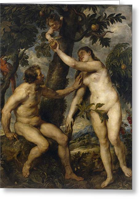 Religious Art Greeting Cards - Adam and Eve Greeting Card by Peter Paul Rubens