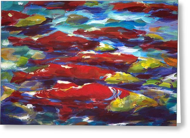 Sockeye Paintings Greeting Cards - Adams River Salmon Run Greeting Card by Val Philbrook