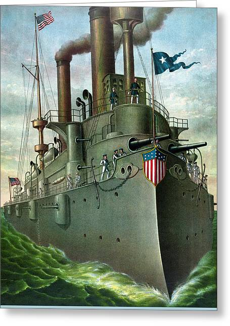 Naval History Greeting Cards - Admiral Deweys Flagship Olympia Greeting Card by War Is Hell Store