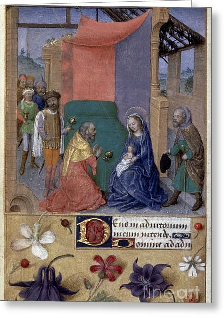 French Handwriting Greeting Cards - Adoration Of Magi Greeting Card by Granger