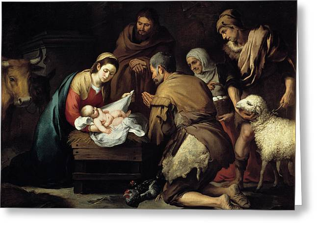 Bartolome Esteban Murillo Greeting Cards - Adoration of the Shepherds Greeting Card by Celestial Images