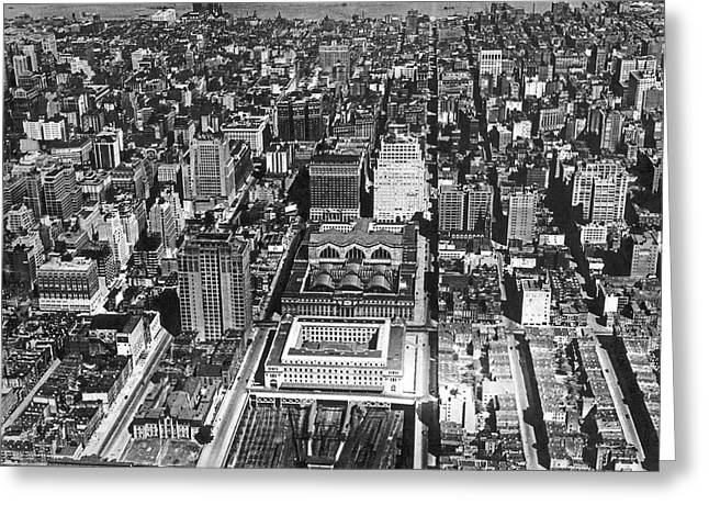 Aerial Of Pennsylvania Station Greeting Card by Underwood Archives