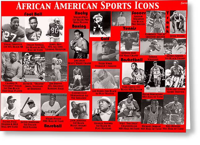 Althea Greeting Cards - African American Sports Icons Poster Greeting Card by  Sirron Kyles