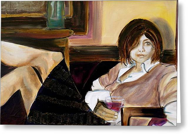 Relaxing Mixed Media Greeting Cards - After a Long Day Greeting Card by Debi Starr