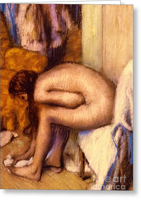 Toilet Paper Greeting Cards - After the Bath Greeting Card by Edgar Degas