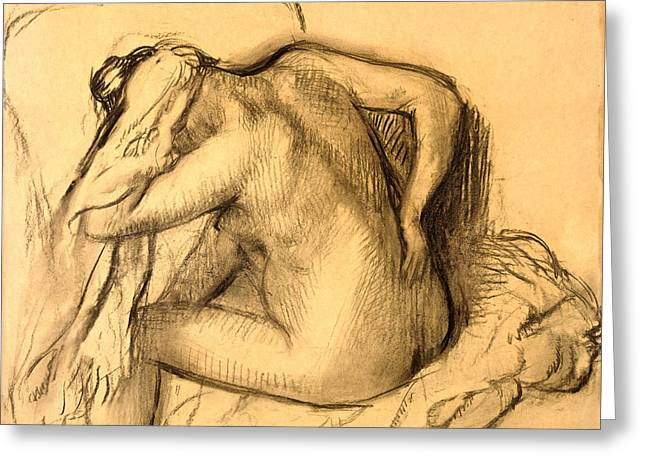 After The Bath Woman Drying Her Hair Greeting Card by Edgar Degas