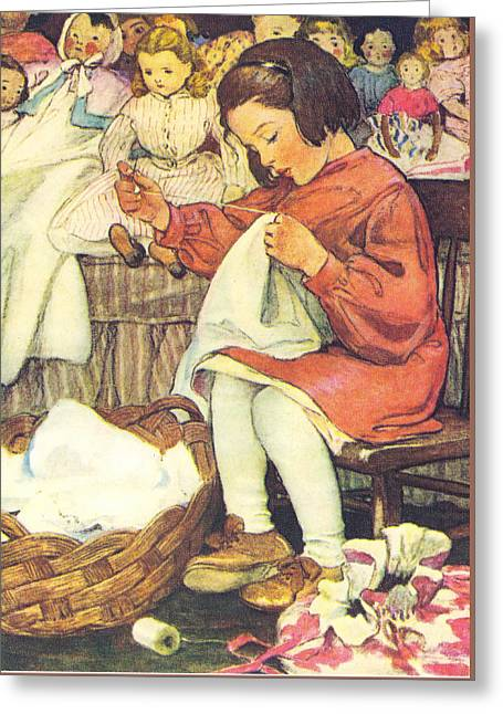 Child With Teddy Bear Greeting Cards - Afternoon Chores Greeting Card by Jessie Wilcox Smith