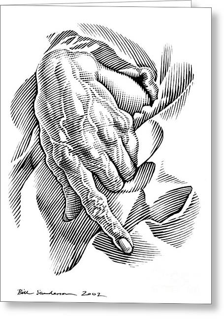 Linocut Greeting Cards - Aged Hand, Artwork Greeting Card by Bill Sanderson