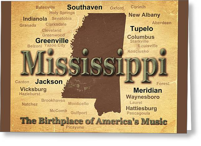 Mississippi Map Greeting Cards - Aged Mississippi State Pride Map Silhouette  Greeting Card by Keith Webber Jr