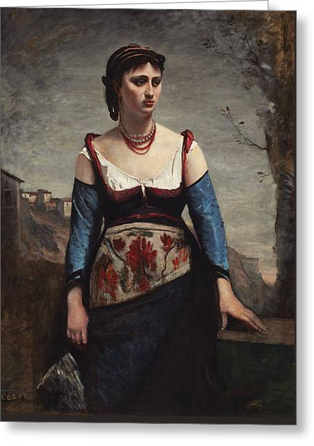 Jean-baptiste Art Greeting Cards - Agostina Greeting Card by Jean-baptiste-camille Corot