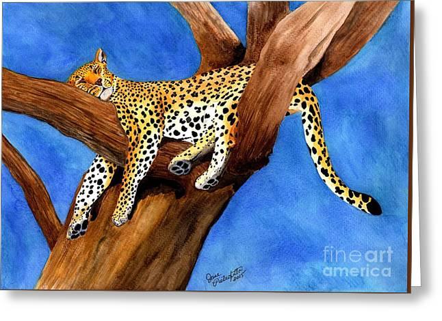Leopard Drawings Greeting Cards - Ahhhhhh..... Greeting Card by Jane Pietrofitta