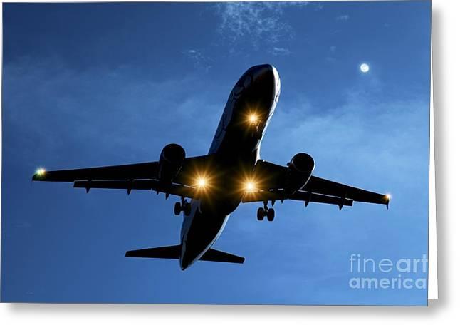 Airbus Greeting Cards - Airbus A320 Airliner Landing At Night Greeting Card by Detlev van Ravenswaay