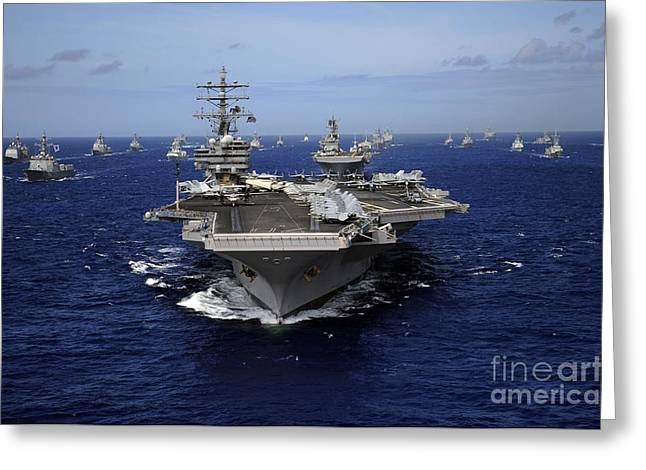 Strike Group Greeting Cards - Aircraft Carrier Uss Ronald Reagan Greeting Card by Stocktrek Images